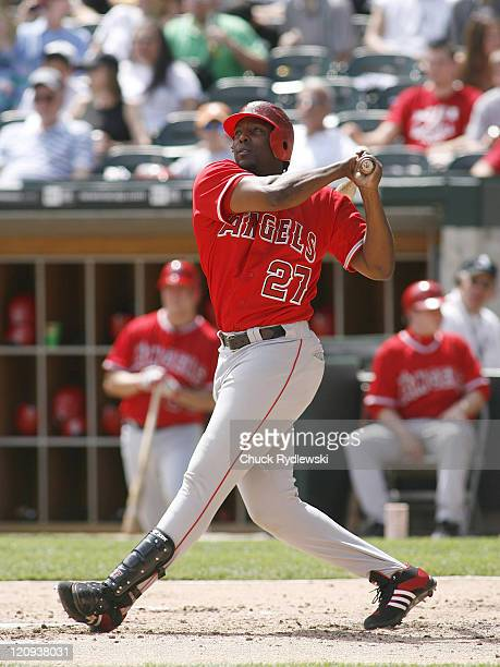 Los Angeles Angels' DH Vladimir Guerrero watches the flight of his 4th inning home run during their game versus the Chicago White Sox April 29 2007...