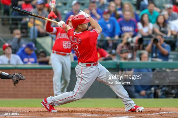 Los Angeles Angels First base Albert Pujols hits during the game between the Los Angeles Angels and Texas Rangers on April 9 2018 at Globe Life Park...