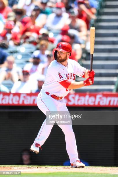 Los Angeles Angels first baseman Jared Walsh at bat during a MLB game between the Seattle Mariners and the Los Angeles Angels of Anaheim on July 18,...