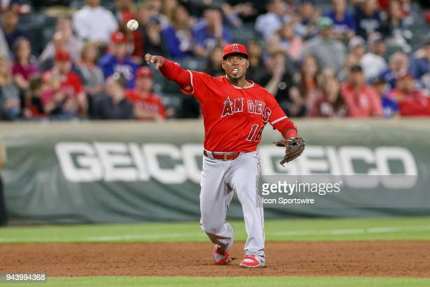 Los Angeles Angels Infield Luis Valbuena throws to 1st after fielding a ground ball during the game between the Los Angeles Angels and Texas Rangers...