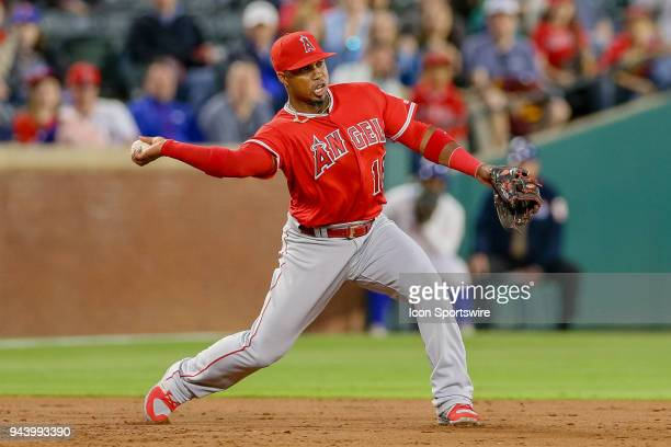 Los Angeles Angels Infield Luis Valbuena throws to second base during the game between the Los Angeles Angels and Texas Rangers on April 9 2018 at...