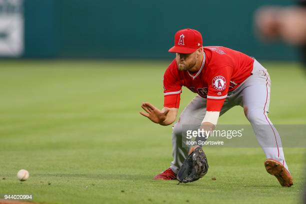 Los Angeles Angels Infield Zack Cozart fields a ground ball during the game between the Los Angeles Angels and Texas Rangers on April 9 2018 at Globe...