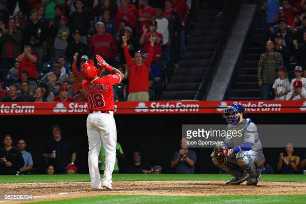 Los Angeles Angels infielder Luis Valbuena points to the sky after touching home plate after his game tying home run in the 8th inning during a MLB...