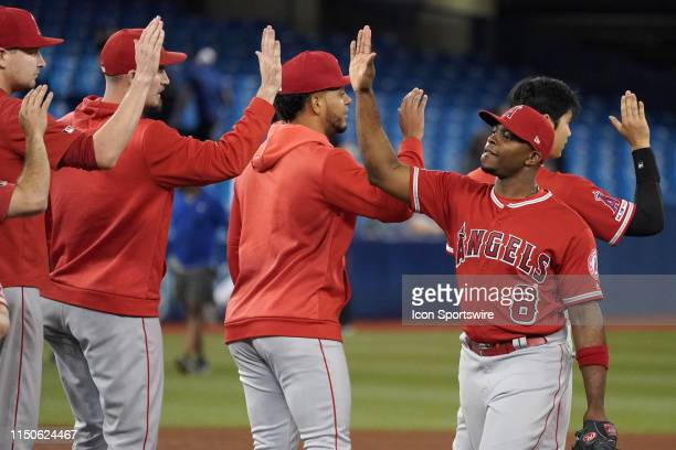 Los Angeles Angels Left field Justin Upton celebrates the win with teammates after the regular season MLB game between the Toronto Blue Jays and the...