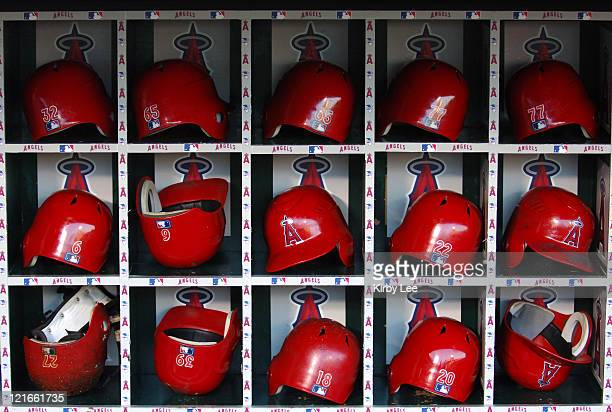 Los Angeles Angels of Anaheim batting helmets in dugout at Angel Stadium in Anaheim Calif on Tuesday September 26 2006