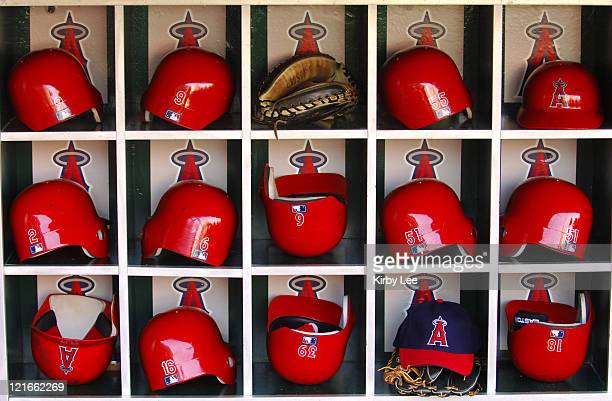Los Angeles Angels of Anaheim batting helmets in dugout at Angel Stadium in Anaheim Calif on Saturday Sept 3 2005