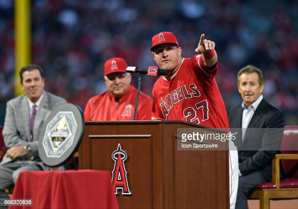 Los Angeles Angels of Anaheim Center field Mike Trout addresses the crowd during Trout's ceremony to receive his 2016 MVP and Silver Slugger awards...
