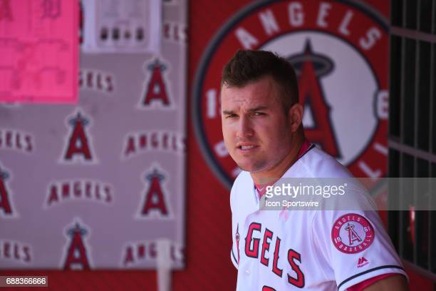 Los Angeles Angels of Anaheim Center field Mike Trout looks on from the dugout during an MLB game between the Detroit Tigers and the Los Angeles...