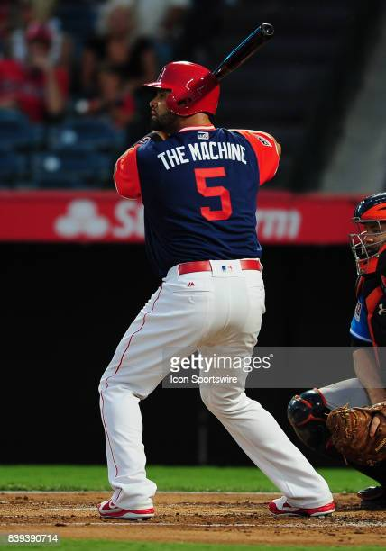 Los Angeles Angels of Anaheim designated hitter Albert Pujols with 'The Machine' on the back of his players weekend jersey during an at bat in the...