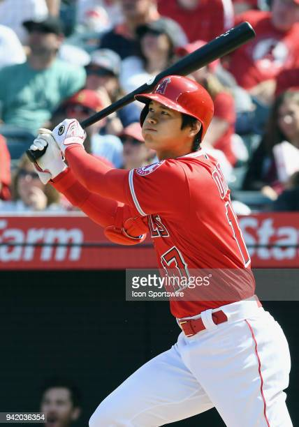 Los Angeles Angels of Anaheim designated hitter Shohei Ohtani hits a two run home run in the fifth inning of a game against the Cleveland Indians...