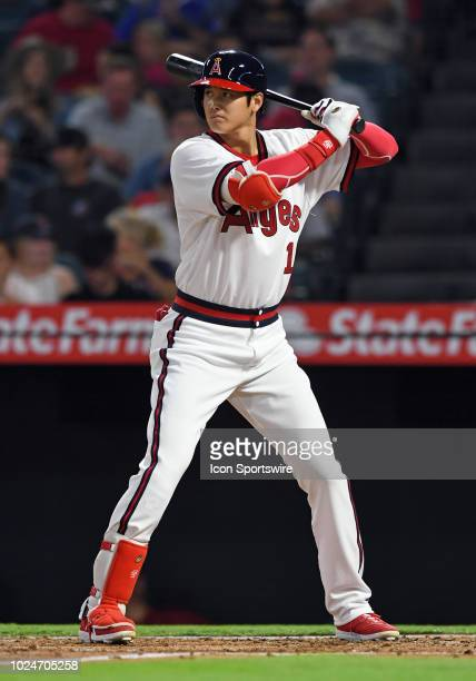 Los Angeles Angels of Anaheim designated hitter Shohei Ohtani in a 1980s California Angels style uniform during an at bat in the second inning of a...