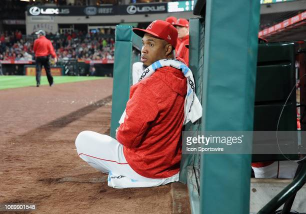 Los Angeles Angels of Anaheim infielder Luis Valbuena sits on the edge of the dugout during a game against the Boston Red Sox played on April 17 2018...
