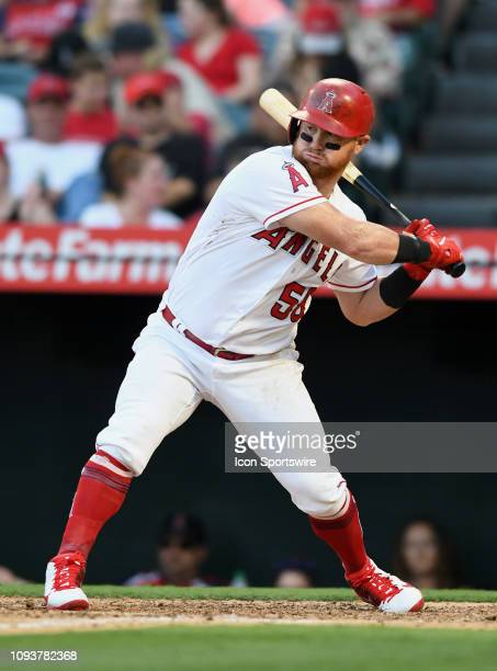 Los Angeles Angels of Anaheim left fielder Kole Calhoun in action in a game against the Houston Astros played on July 21 2018 at Angel Stadium of...