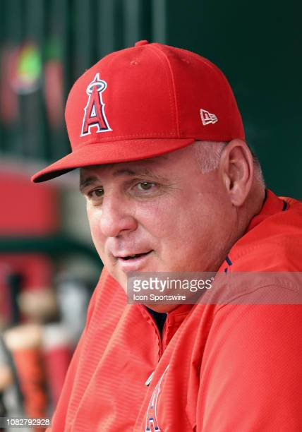 Los Angeles Angels of Anaheim manager Mike Scioscia in the dugout before the start of a game against the Seattle Mariners played on July 11 2018 at...