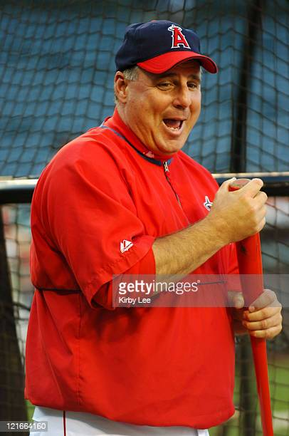 Los Angeles Angels of Anaheim manager Mike Scioscia smiles during batting practice before game against the Florida Marlins at Angel Stadium in...