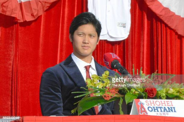 Los Angeles Angels of Anaheim new player Shohei Ohtani is introduced at Angel Stadium of Anaheim on December 9 2017 in Anaheim California