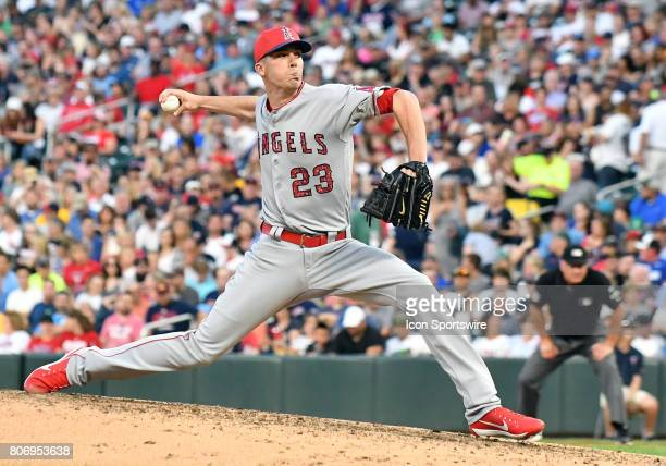 Los Angeles Angels of Anaheim Pitcher Alex Meyer delivers a pitch during a MLB game between the Minnesota Twins and Los Angeles Angels on July 3 2017...