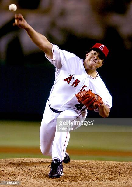 Los Angeles Angels of Anaheim pitcher Bartolo Colon set a seasonhigh with six strikeouts and retired 15 of his last 17 batters in eight innings of...