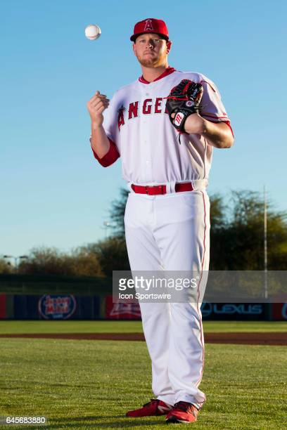 Los Angeles Angels of Anaheim pitcher Brooks Pounders during photo day on February 21 at Tempe Diablo Stadium in Tempe Ariz