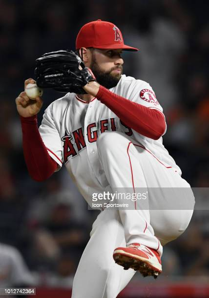 Los Angeles Angels of Anaheim pitcher Justin Anderson in action during the ninth inning of a game against the Detroit Tigers played on August 6 2018...