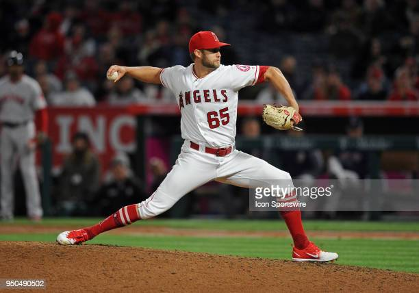 Los Angeles Angels of Anaheim pitcher Luke Bard in action during the ninth inning of a game against the Boston Red Sox played on April 19 2018 at...