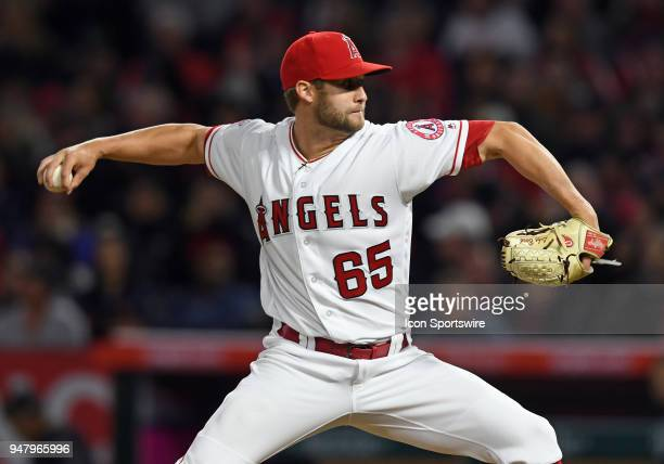 Los Angeles Angels of Anaheim pitcher Luke bard in action in the fourth inning of a game against the Boston Red Sox played on April 17 2018 at Angel...