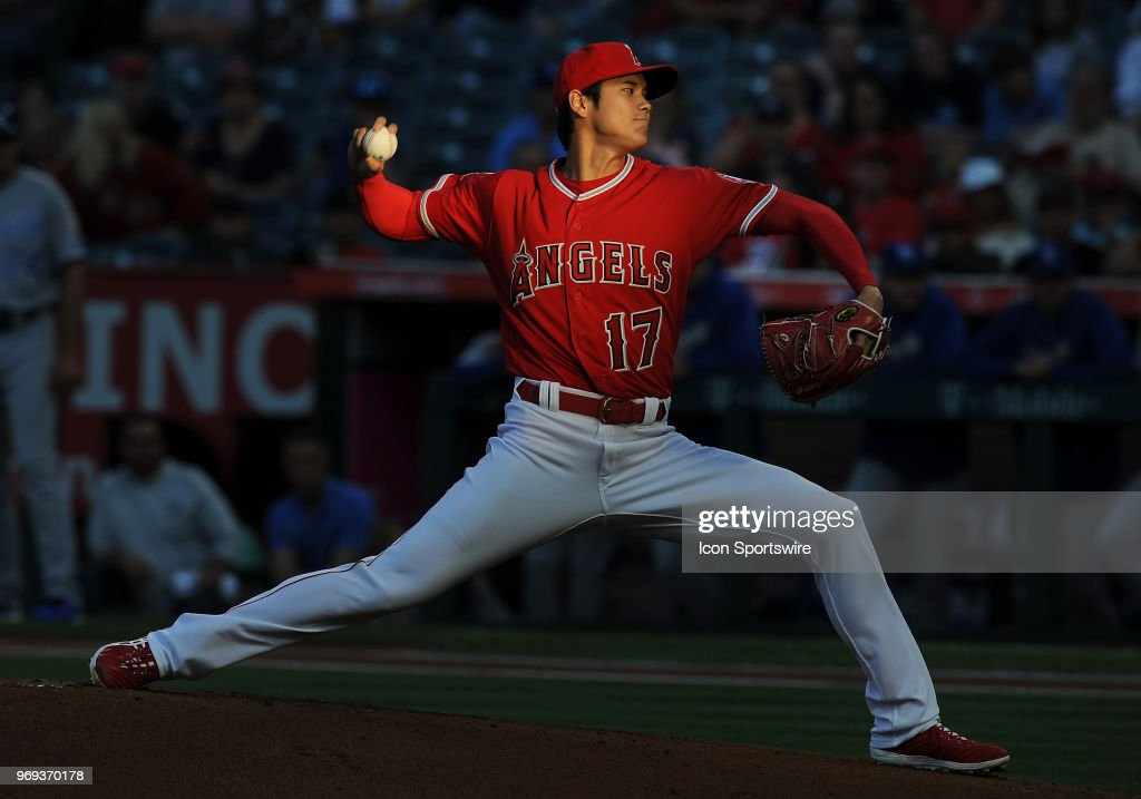 Los Angeles Angels of Anaheim pitcher Shohei Ohtani (17) in action during the first inning of a game against the Kansas City Royals played on June 6, 2018 at Angel Stadium of Anaheim in Anaheim, CA.