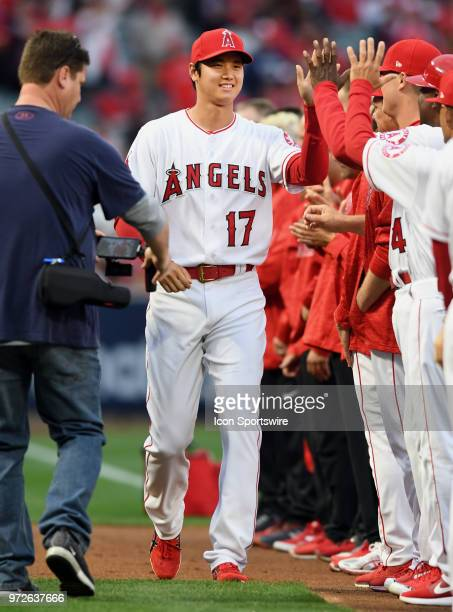 Los Angeles Angels of Anaheim pitcher Shohei Ohtani on the field during opening day player introductions before the start of a game against the...