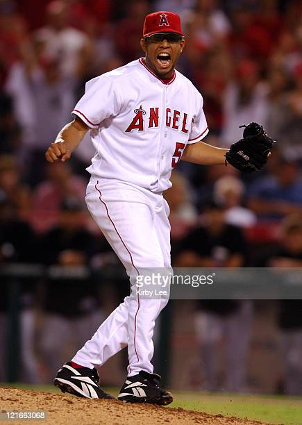 Los Angeles Angels of Anaheim relief pitcher Francisco Rodriguez celebrates during the ninth inning of 43 11inning victory over the Chicago White Sox...