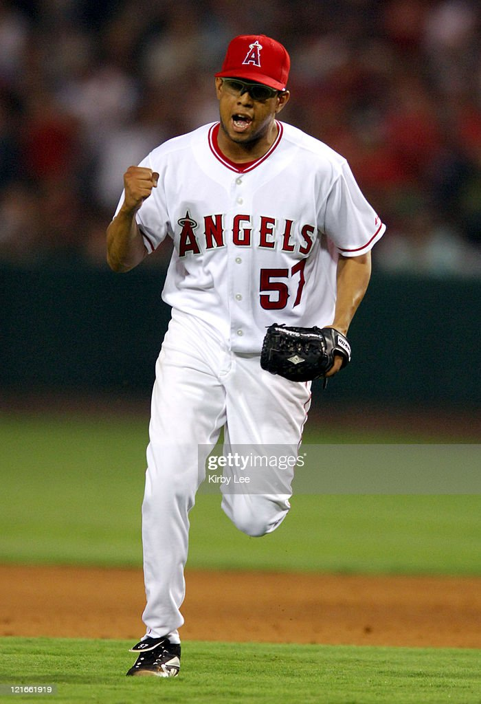 Los Angeles Angels of Anaheim reliever Francisco Rodriguez celebrates a ground out to end the ninth inning in 4-3 loss in 10 innings to the Boston Red Sox at Angel Stadium in Anaheim, Calif. on Friday, August 19, 2005.