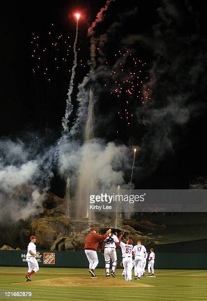 Los Angeles Angels of Anaheim reliever Francisco Rodriguez points skyward as fireworks explodes after the final out of 20 victory over the Cleveland...