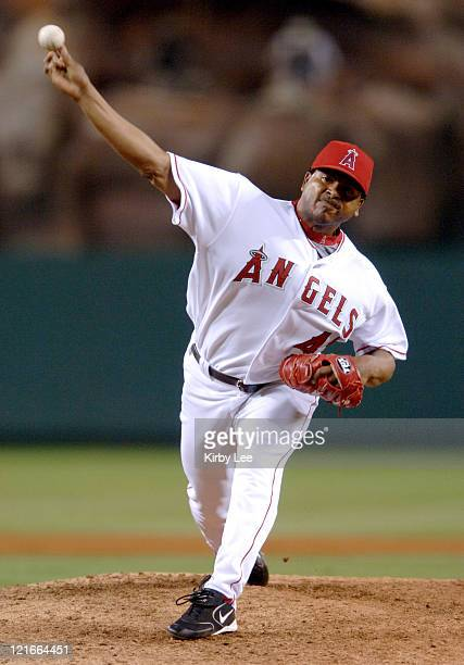 Los Angeles Angels of Anaheim reliever Hector Carrasco pitches during 105 victory over the Cleveland Indians at Angel Stadium in Anaheim California...