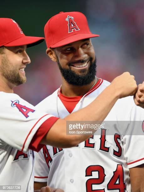 Los Angeles Angels of Anaheim right fielder Chris Young on the field during opening day player introductions before the start of a game against the...