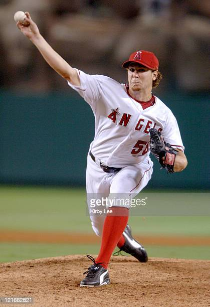 Los Angeles Angels of Anaheim rookie Dustin Moseley pitches in his Major League Baseball debut in 105 victory over the Cleveland Indians at Angel...