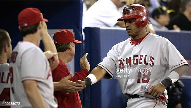 Los Angeles Angels of Anaheim SS Orlando Cabrera is congratulated by teammates after scoring the Angels 2nd run on a single by Robb Quinlan against...