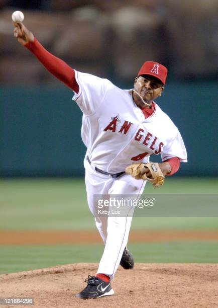 Los Angeles Angels of Anaheim starter Hector Carrasco pitches during 52 loss to the Detroit Tigers at Angel Stadium in Anaheim Calif on Tuesday April...