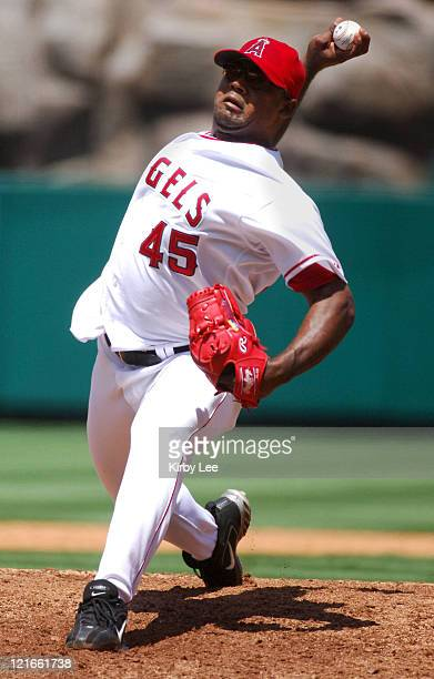 Los Angeles Angels of Anaheim starter Kelvim Escobar pitches during 3-2 loss to the Oakland Athletics at Angel Stadium in Anaheim, Calif. On...