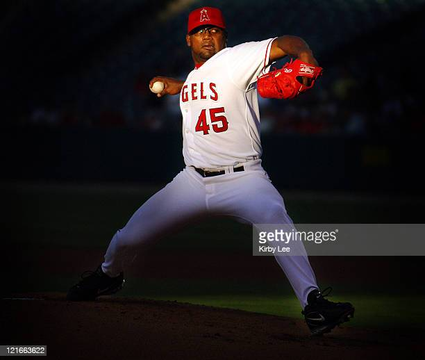 Los Angeles Angels of Anaheim starter Kelvim Escobar pitches during 43 loss to the Kansas City Royals at Angel Stadium in Anaheim Calif on Wednesday...