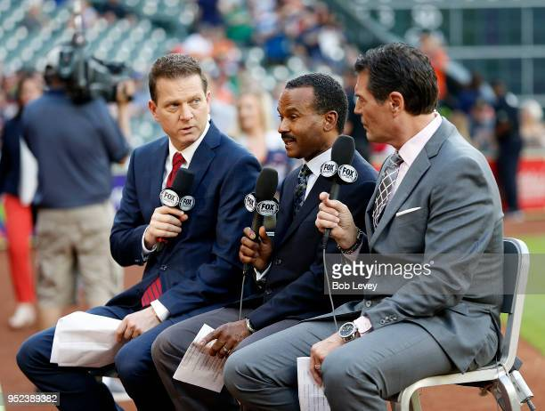 Los Angeles Angels of Anaheim television commentators Victor Rojas Jose Mota and Mark Gubicza at Minute Maid Park on April 24 2018 in Houston Texas