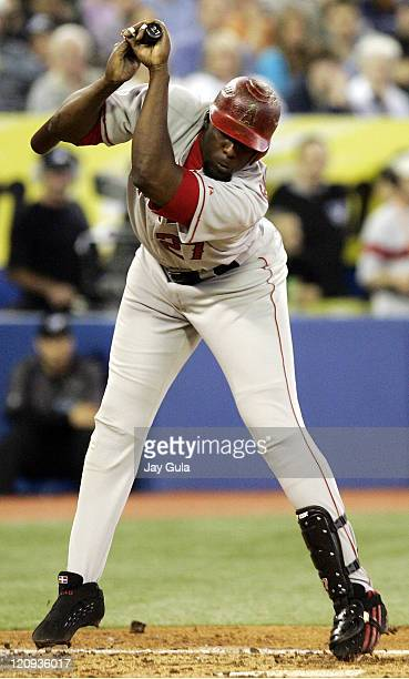 Los Angeles Angels of Anaheim's Vladimir Guerrero ducks out of the way of an inside pitch in MLB action vs the Toronto Blue Jays at Rogers Centre in...