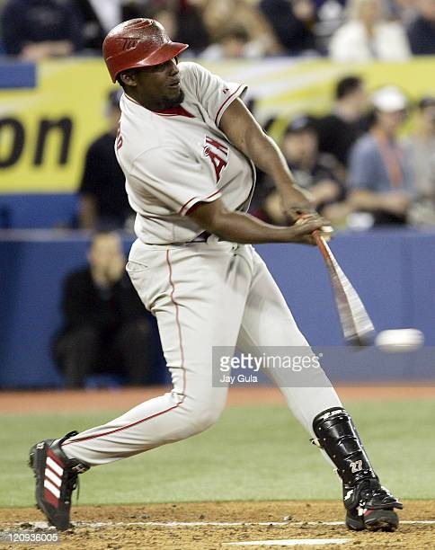 Los Angeles Angels of Anaheim's Vladimir Guerrero makes contact with a pitch versus the Toronto Blue Jays at Rogers Centre in Toronto Canada May 7...