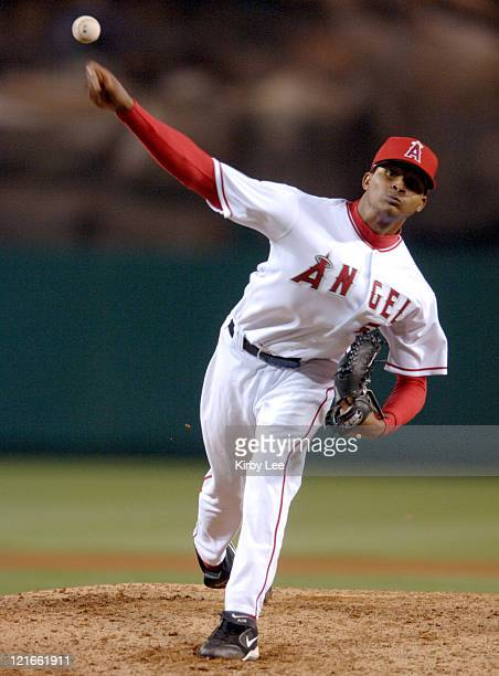 Los Angeles Angels of Anahiem starter Ervin Santana pitches during 40 victory over the Chicago White Sox at Angel Stadium in Anaheim Callifornia on...
