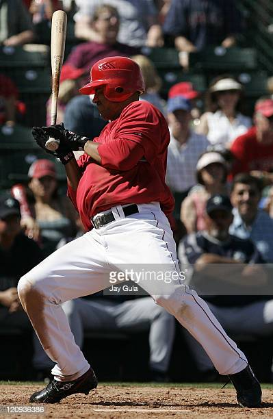 Los Angeles Angels Orlando Cabrera backs away from an inside pitch in Cactus League action vs the Seattle Mariners at Tempe Diablo Stadium in Tempe...