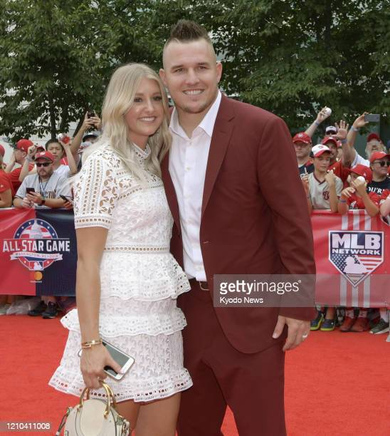 Los Angeles Angels outfielder Mike Trout and his wife Jessica pose for a photo at an event held before the AllStar Game in Washington on July 17 2018