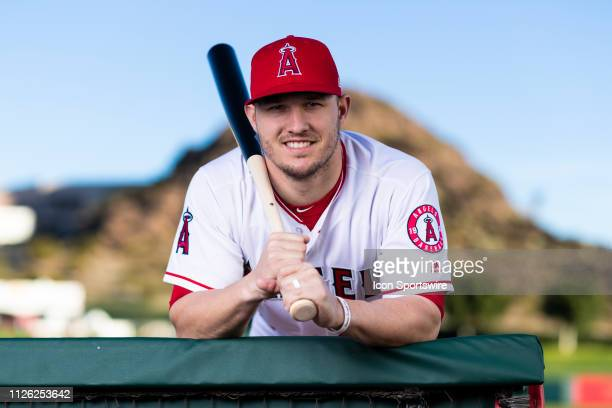 Los Angeles Angels outfielder Mike Trout poses for a portrait during the Los Angeles Angels photo day on Tuesday Feb 19 2019 at Tempe Diablo Stadium...
