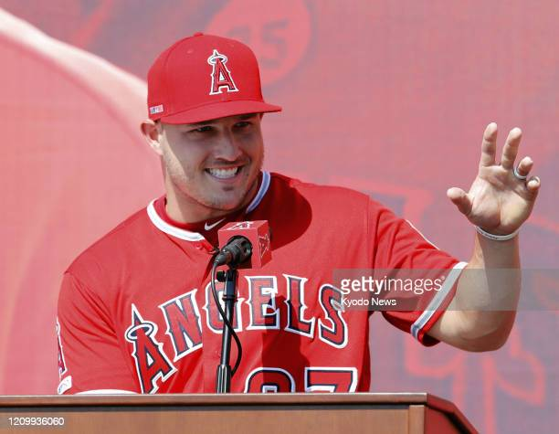 Los Angeles Angels outfielder Mike Trout speaks at a press conference in Anaheim California on March 24 2019