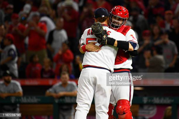 Los Angeles Angels pitcher Hansel Robles celebrates with Los Angeles Angels catcher Anthony Bemboom after a MLB game between the Chicago White Sox...