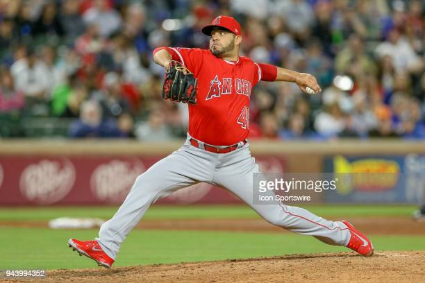 Los Angeles Angels Pitcher Jose Alvarez comes on in relief during the game between the Los Angeles Angels and Texas Rangers on April 9 2018 at Globe...