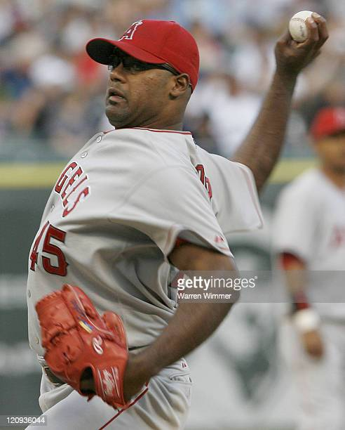 Los Angeles Angels pitcher, Kelvim Escobar, on the mound during Los Angeles Angels of Anaheim vs Chicago White Sox game on August 7, 2006 at US...