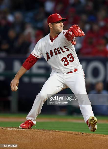 Los Angeles Angels pitcher Matt Harvey in action during the first inning of a game against the Texas Rangers played on April 4 2019 at Angel Stadium...